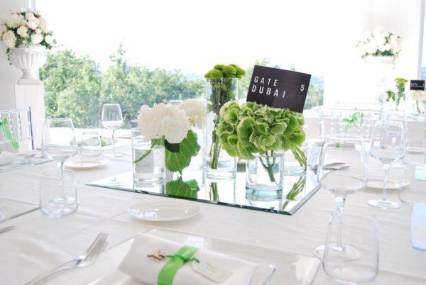 Centrotavola fiori cilindri matrimonio
